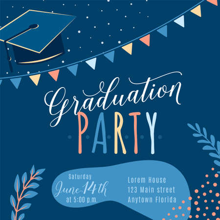 Graduation party vector background, invite card template. Trendy design illustration of graduate with cap, flags, plants, dots, organic shapes. Modern art in minimalist style