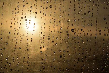 polyethylene film: drops of water and sun custom visible through the plastic film Stock Photo