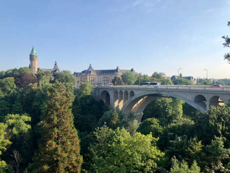 Luxembourg: Adolphe bridge, above the Parcs de la Petrusse and connecting the old town to the modern district