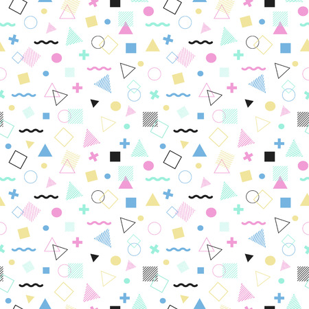 Geometric seamless pattern color consisting of line geometric different shapes and lines. Colorful geometric seamless pattern. Hipster memphis style.