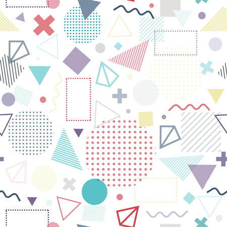 Geometric seamless pattern color consisting of line geometric different shapes and lines. Colorful geometric seamless pattern. Hipster style. Imagens