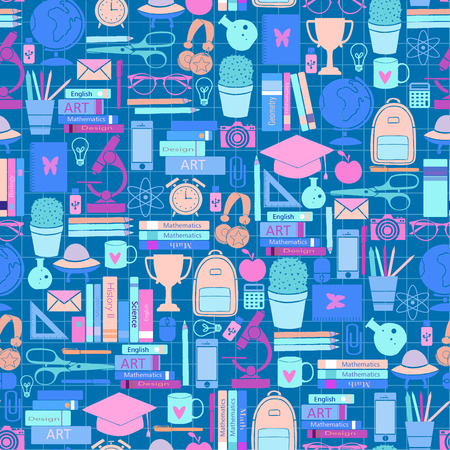 Hand Drawn Study seamless pattern with school accessories. Sketch background with icons. Colorful doodles illustration. Background with school elements and objects. Back to school. Stock fotó
