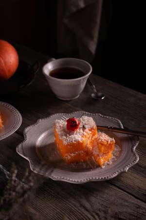 Piece of pumpkin pie on a vintage plate Stock Photo