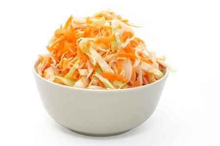 Marinated cabbage and  carrots . Object over white. Studio isolated. photo