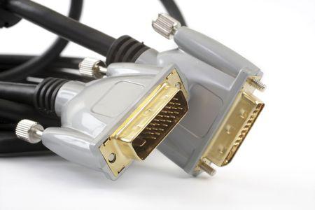 vga: Cable VGA para monitores en blanco  Foto de archivo