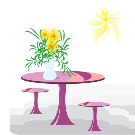 Vase with the flowers on a round table Illustration