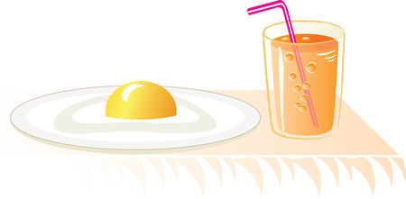 aerated: Breakfast with fried eggs and aerated water