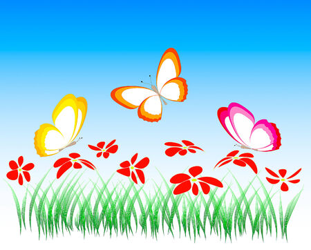 ne: flowers and butterflies, illustration Illustration