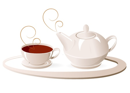 Cup and teapot,  illustration; vector