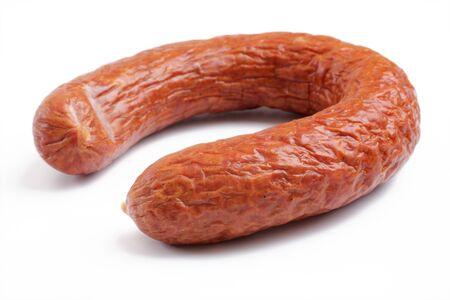 smoked sausage over white Stock Photo