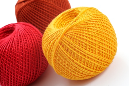 yarn for crochet on a white background, studio foto photo