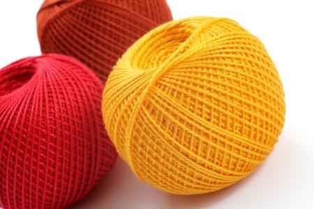 yarn for crochet on a white background, studio foto photo