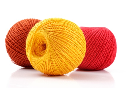 yarn for crochet on a white background, studio isolated