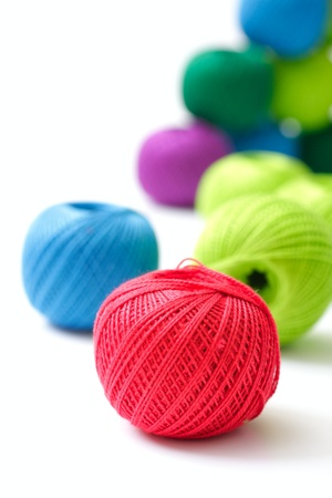 yarns for knitting on a white background