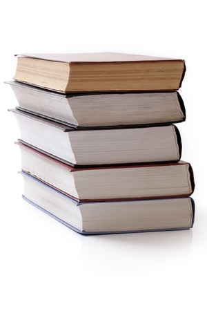 Several books on a white background, studio isolated