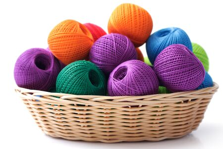 Basket crafts and sewing, on a white background Stock Photo