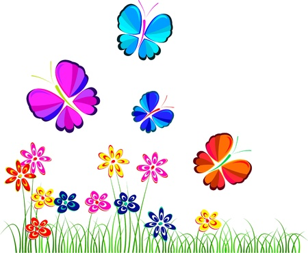 flowers and butterflies over white, illustration, vector Vector
