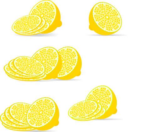 sliced lemon over white, vector Stock Vector - 16246233