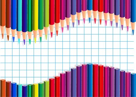 Color pencils wave on a squared paper  Vector illustration  Transparency and gradient mesh not used Vector