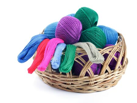 basket embroidery: ns of different colors for embroidery in the basket  Studio isolated