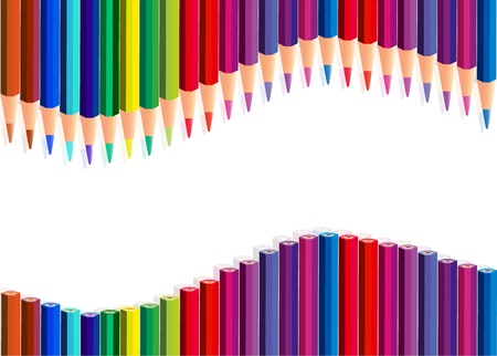Color pencils wave, over white Vector
