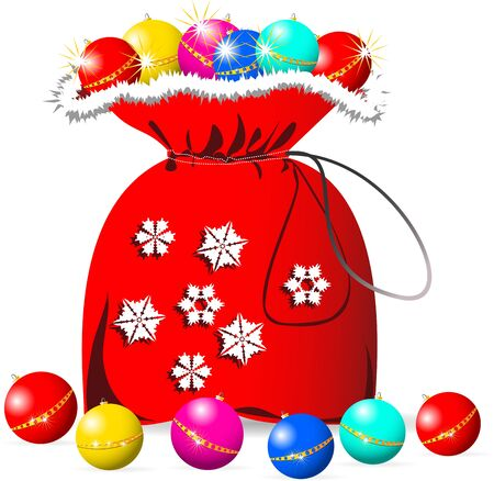 Bag of Santa Claus with a Christmas toy  Vector illustration  Isolated on white background   Transparency and gradient mesh not used  Vector