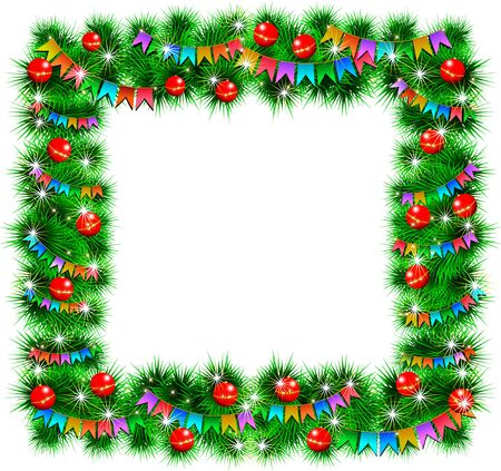 festoon: Christmas frame decorated with toys and flags  illustration  Isolated on white background