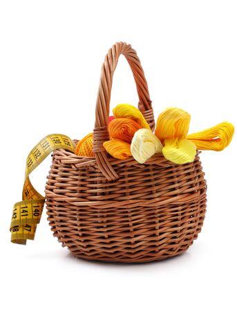 basket embroidery: Craft basket, studio isolated