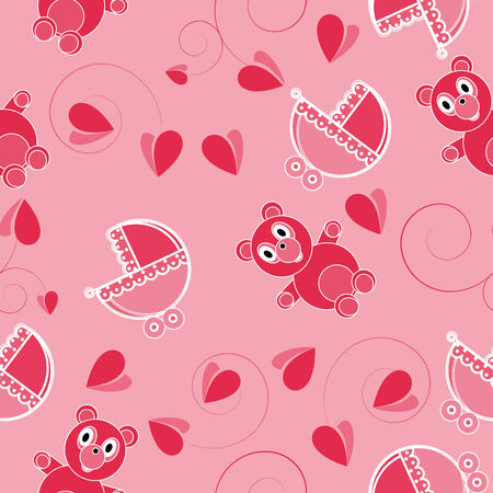 Children pink abstract seamless pattern on pink background Vector