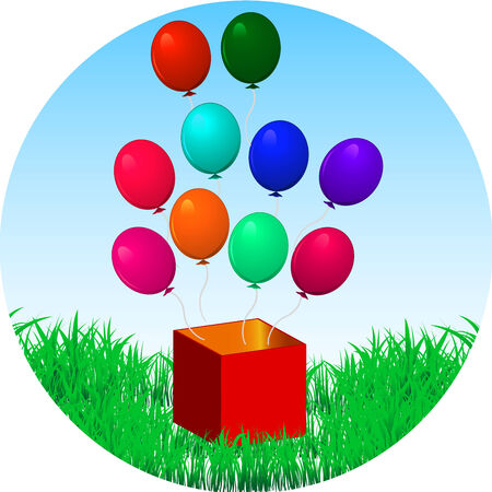 fun balloons fly out of the box with a gift on a green grass