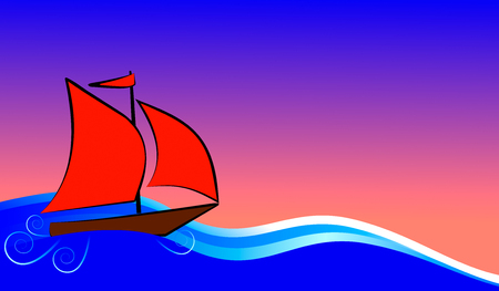 boat with red sails floats on the blue sea Stock Photo