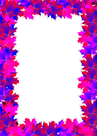 frame of pink and blue maple leaf Stock Photo