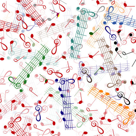 music notation repeating pattern on a white background Illustration