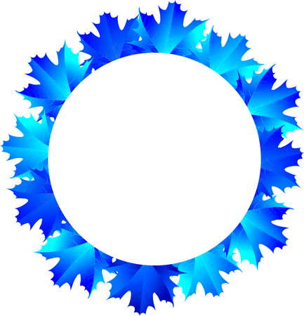round frame of the blue maple leaves