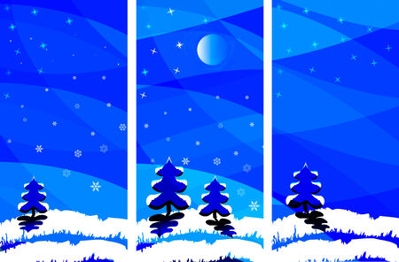 winter night landscape with a tree, moon and snowflakes