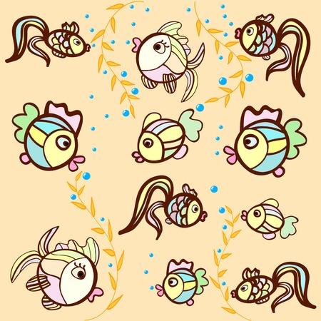 pattern of fish on a beige background Illustration