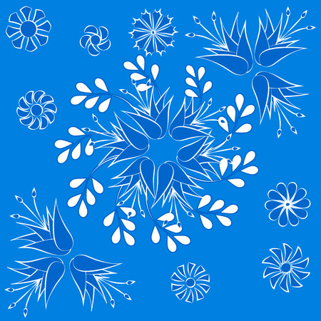 pattern of flowers in blue and white colors, seamless