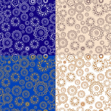 set of repeating floral patterns on different backgrounds Illustration
