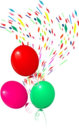 bright funny flying balloons for holiday, illustration