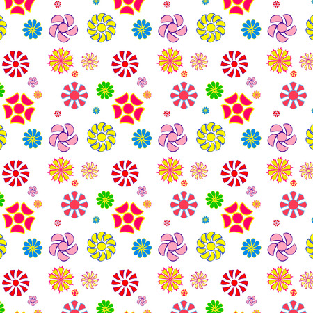 easy and fun pattern of flowers,seamless Illustration