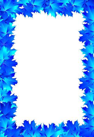 frame blue maple leaves
