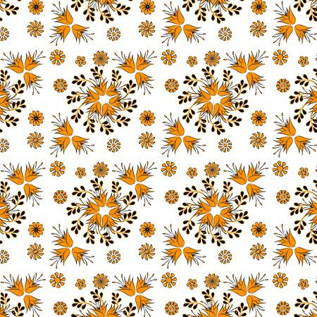 golden bell flowers on a white background,seamless Illustration
