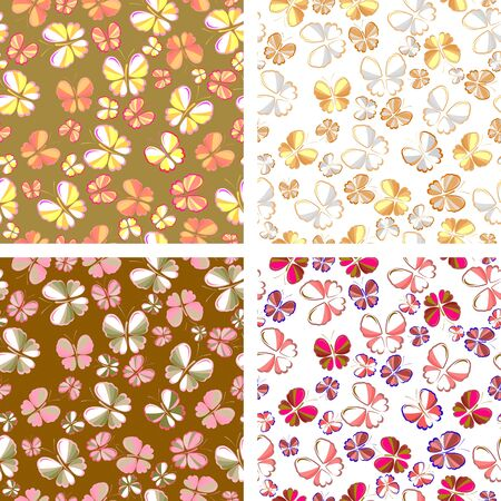 set of seamless patterns of butterflies in pastel colors