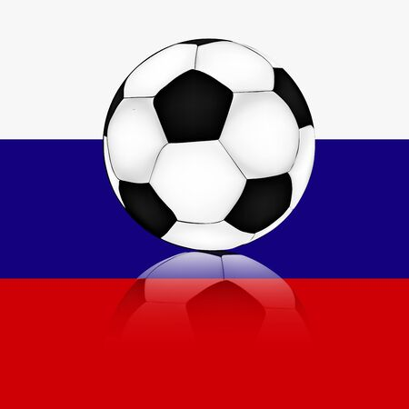 white soccer ball on the background of the Russian flag