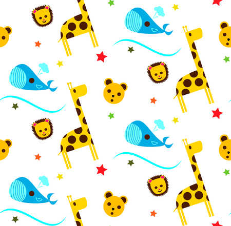 Childrens pattern with giraffe and whale Illustration