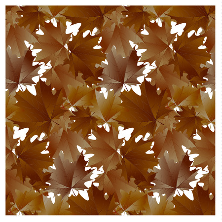 Seamless pattern brown maple leaves