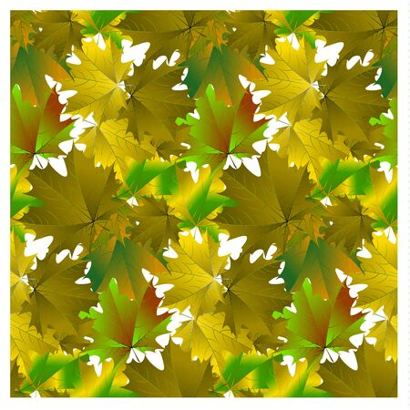 Seamless pattern green maple leaves