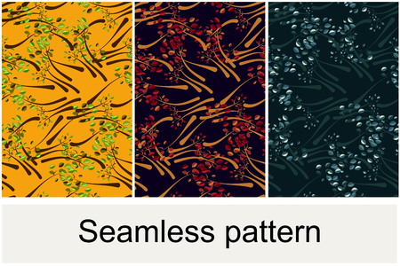 Seamless pattern from a tree with leaves on different color variants