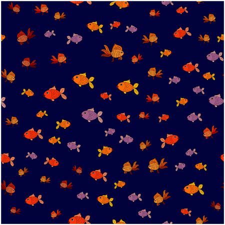 Seamless pattern of small fish on a blue background