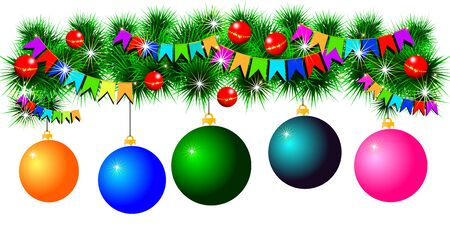 fir-tree garland with balls and flags Stock Photo